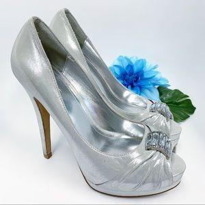 ALDO Diamond Baguette Silver High Heels size 9